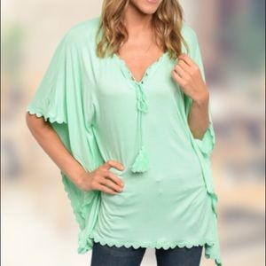 Mint flowing Kaftan top with scalloped trim
